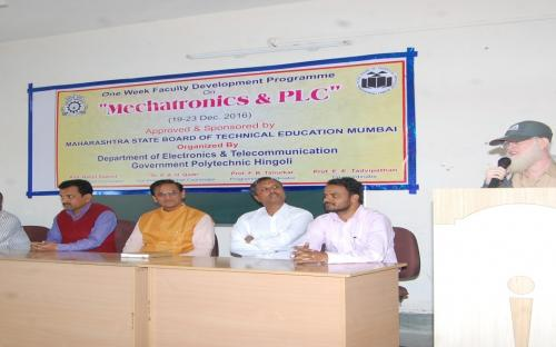 MSBTE Approved & Sponsored Faculty Development Programme  on  Mechatronics & PLC Dated 19-23 Dec 2016